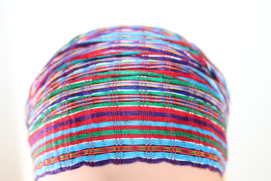 Headband - Red, Blue, & Green Small Stripes Multicolor - Non-Slip