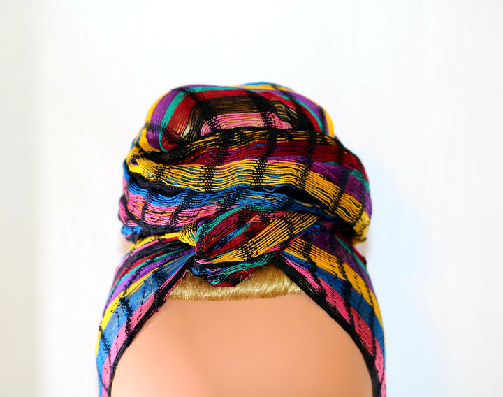Headwrap Scarf - Pink, Blue, & Yellow Stripes Guatemalan Multicolor - Sheer