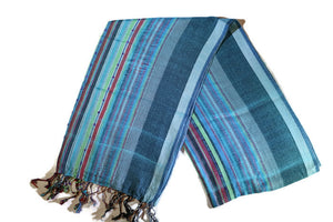 Headwrap Scarf - Blue Striped Multicolor Nepalese - Breathable