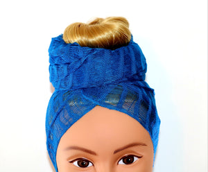 Headwrap Scarf - Solid Royal Blue Guatemalan - Sheer