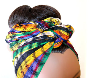 Headwrap Scarf - Blue, Gold, & Black Stripes Guatemalan Multicolor - Sheer