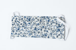 3 Ply Cotton Face Mask-White and Blue Floral Print
