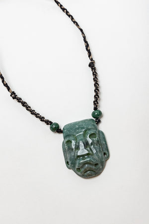 Green Jadeite Jade Carved Olmec Head Pendant Macrame Necklace