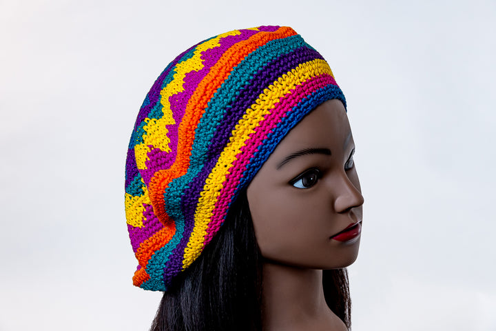 Tam Beret-Slouchy Hat- Bright Multi-Color