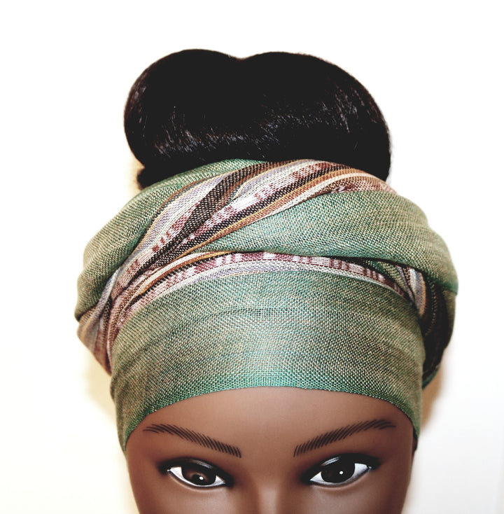 Headwrap Scarf - Green & Brown Earth Tone Nepalese - Breathable