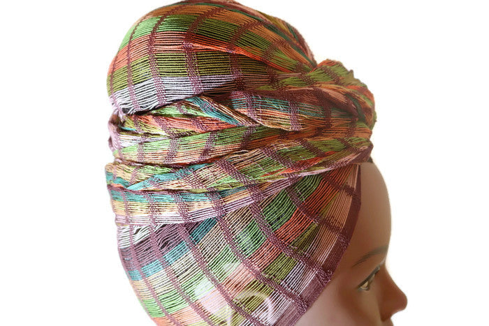 Headwrap Scarf - Brown, Tan & Green Striped Guatemalan Earth Tone - Sheer