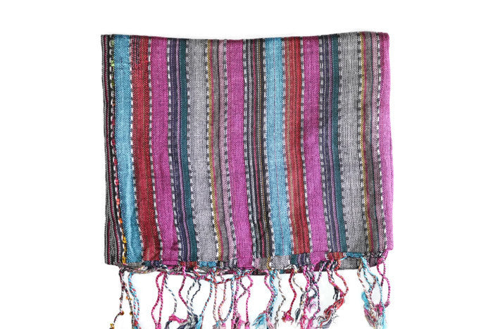 Headwrap Scarf - Gray, Magenta & Blue Striped Multicolor Nepalese - Breathable