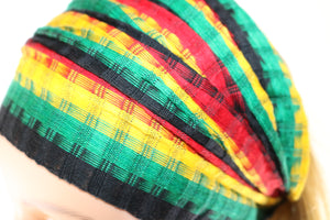 Headband - Black, Green, Gold & Red Faded Stripes Reggae - Non-Slip