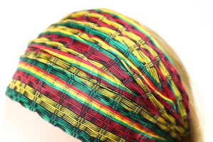 Headband - Green, Gold, Red, & Black Blend Small Stripes Reggae- Non-Slip