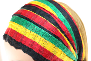 Headband - Black, Red, Gold, & Green Reggae Striped - Non-Slip
