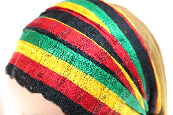 Headband - Black, Red, Gold, & Green Striped Reggae - Non-Slip