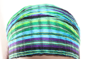 Headband - Teal, Green, Purple, & Black Small Stripes Multicolor Non-Slip