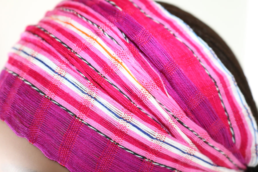 Headband - Magenta, Pink, & White Striped Multicolor - Non-Slip