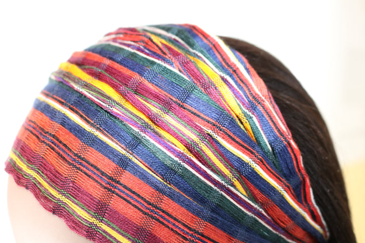 Headband - Gold, Maroon, & Blue Small Stripe Earth Tone Multicolor - Non-slip