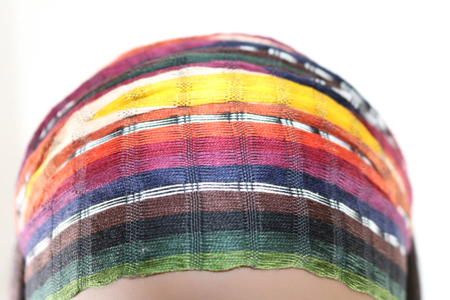 Headband - Earth Tone Blend with Yellow Small Stripes- Multicolor - Non-slip