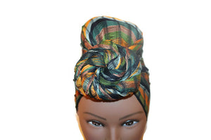 Headwrap Scarf - Blue, Green, & Gold Stripes Guatemalan Multicolor - Sheer
