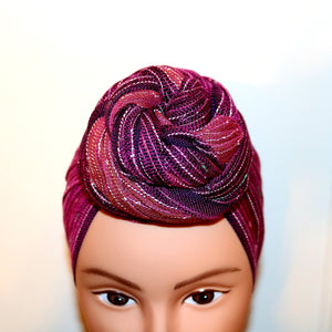 Headwrap Scarf - Purple, Maroon & Silver Small Stripes Nepalese - Breathable