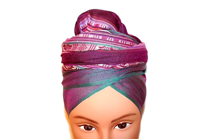 Headwrap Scarf - Purple & Green Earth Tone Nepalese - Breathable