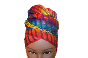 Headwrap Scarf - Rainbow Stripes Guatemalan - Sheer