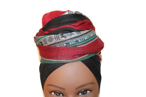 Headwrap Scarf - Maroon & Black Multicolor Nepalese - Breathable