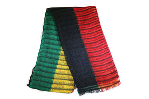 Headwrap Scarf - Reggae Broad Stripes Guatemalan Multicolor - Sheer