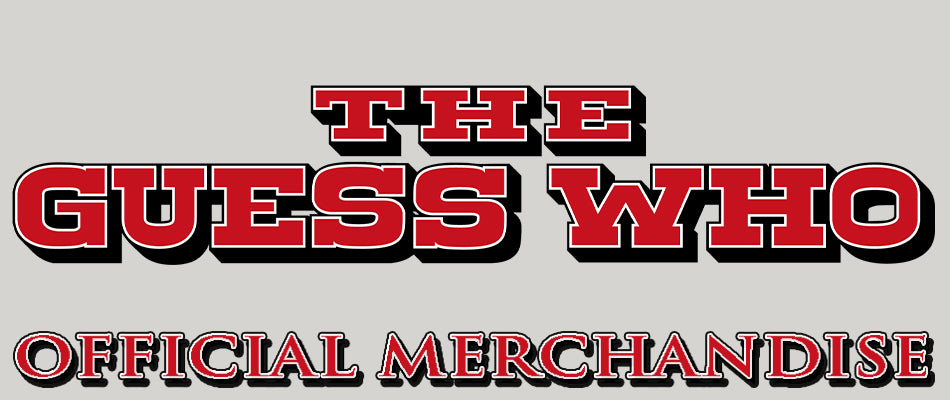 "THE GUESS WHO LOGO BANNER WITH RED BLOCK FONT SAYING ""THE GUESS WHO OFFICIAL MERCHANDISE"""
