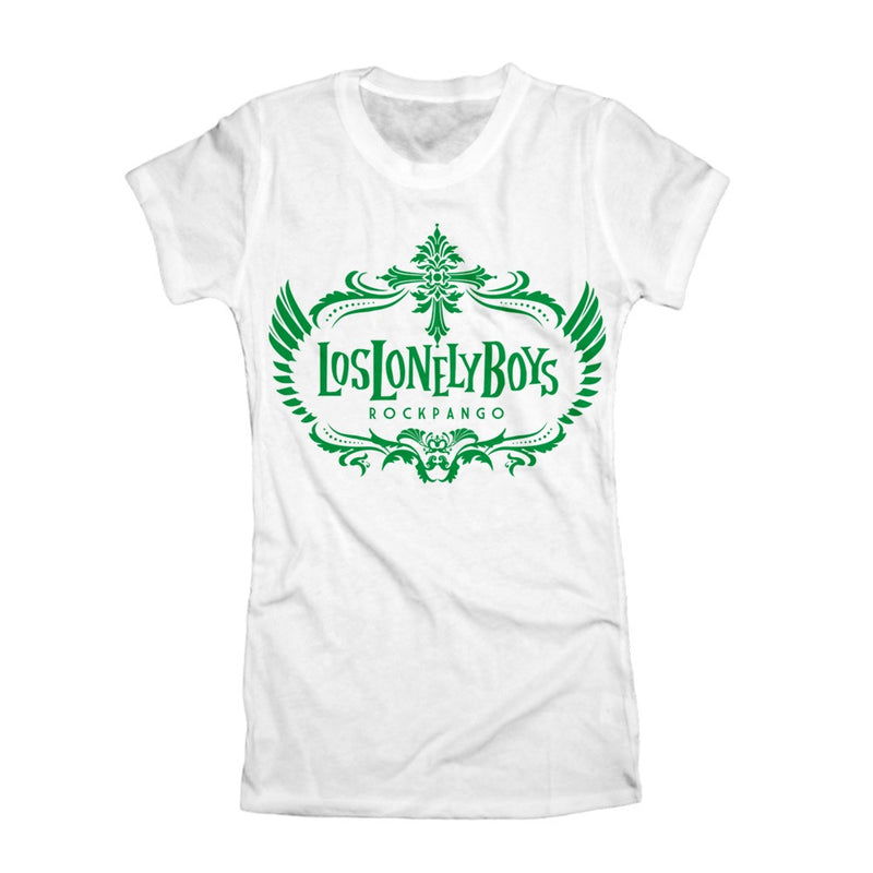 "Los Lonely Boys ""Rockpango Crest"" Women's White T-Shirt"