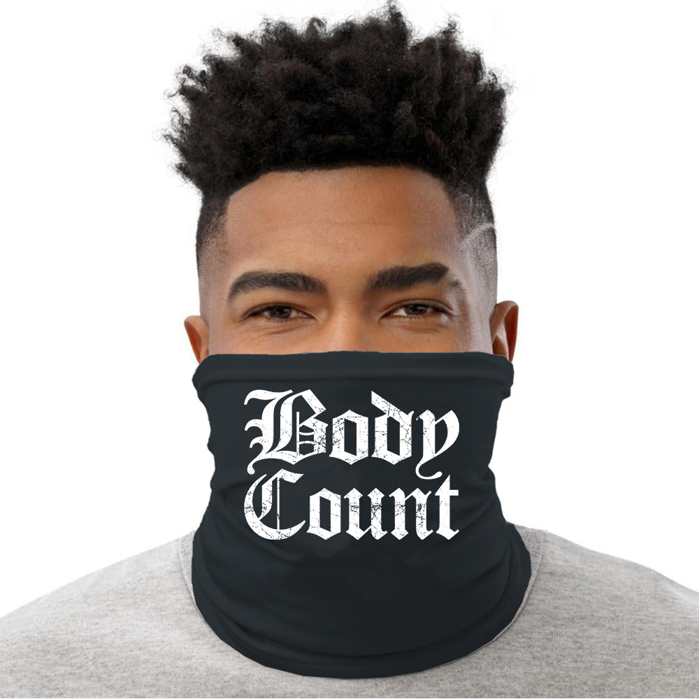 "Body Count ""Old English Logo"" neck gaiter in Black"