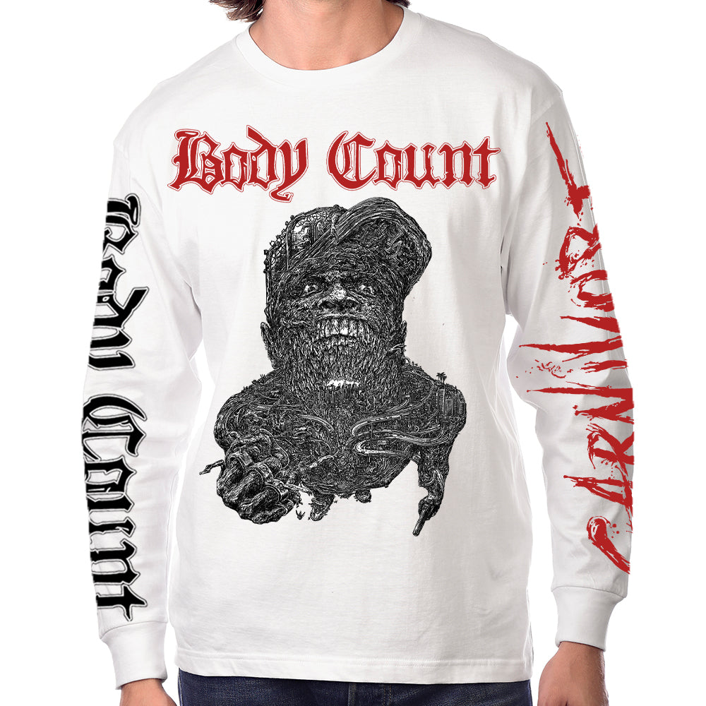 "Body Count ""Carnivore"" Long Sleeve T-Shirt In White"