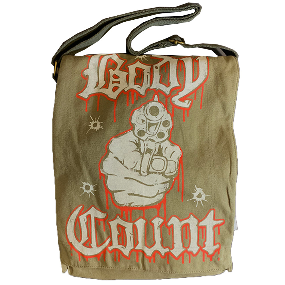 "Body Count ""Talk Shit Get Shot"" Messenger Bag in Olive"