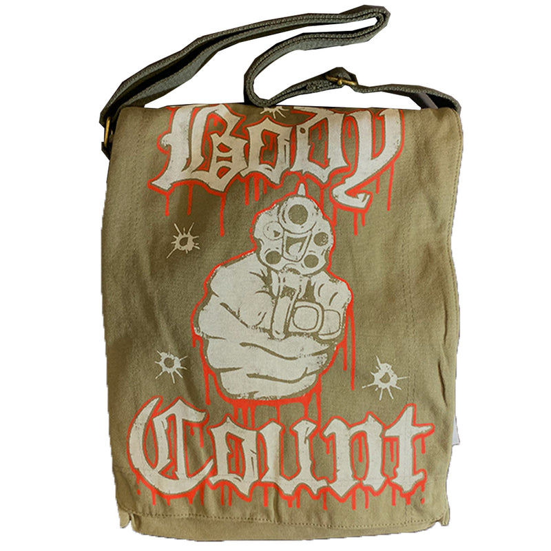 Body Count Talk Shit Get Shot Messenger Bag in Olive
