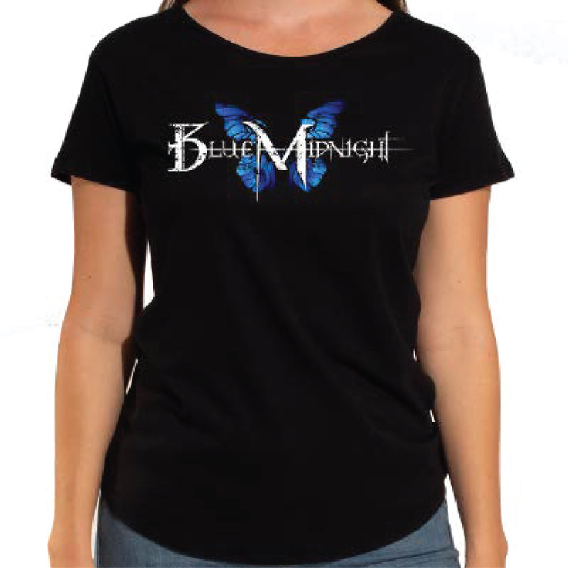 Blue Midnight Butterfly Logo Women's Scoop Neck T-Shirt