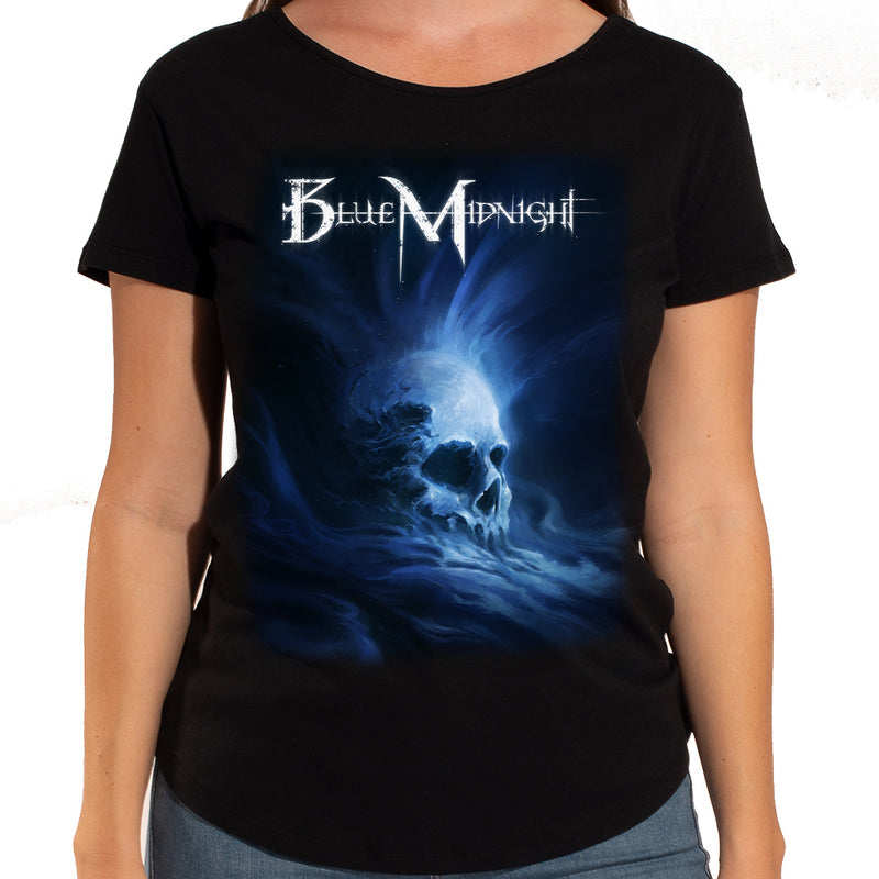 Blue Midnight Skull Women's Scoop Neck T-Shirt