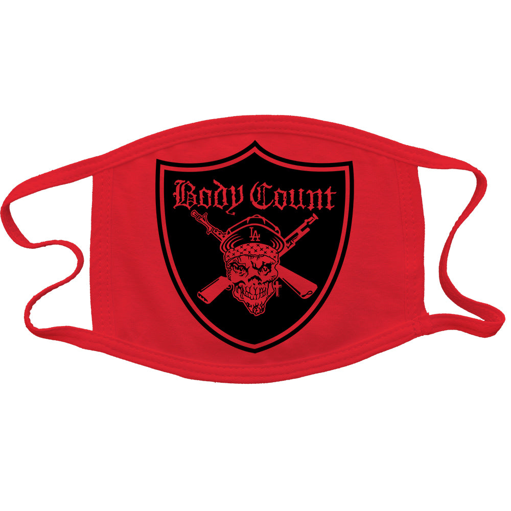 Body Count Pirate Logo Reusable and Washable Anti-Germ and Pollution Mask Cover in Red