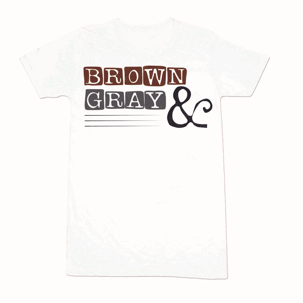 "Brown & Gray ""Boxed Logo"" Women's T-shirt"