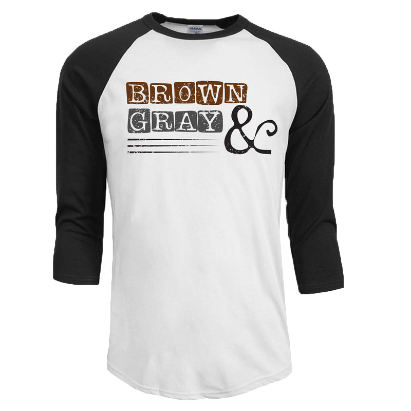"Brown & Gray ""Boxed Logo"" Unisex 3/4 Sleeve Raglan T-Shirt"