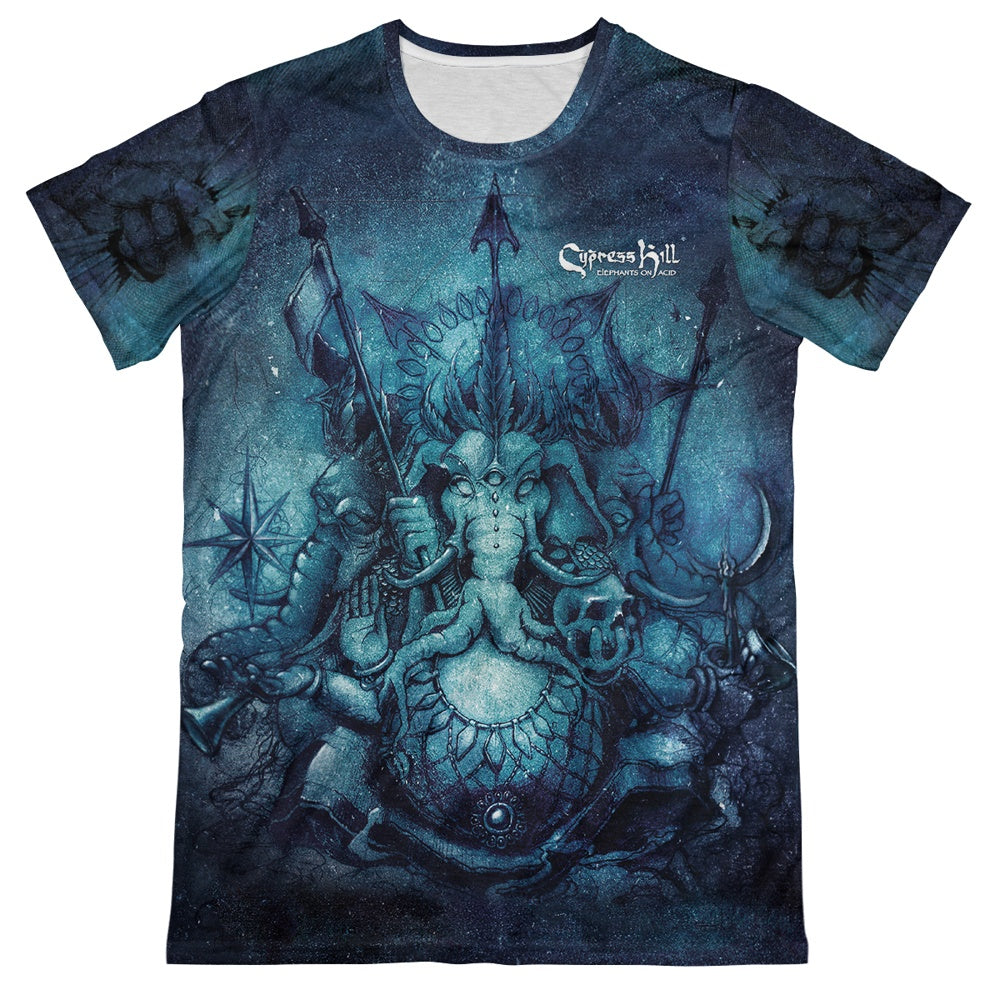 "Cypress Hill ""Elephants on Acid"" Premium All Over Print Crew Neck T-shirt"