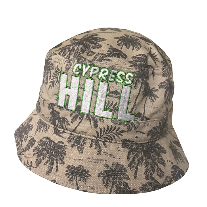 "Cypress Hill ""Block Logo"" on a Bucket Hat with overall Palm tree pattern"