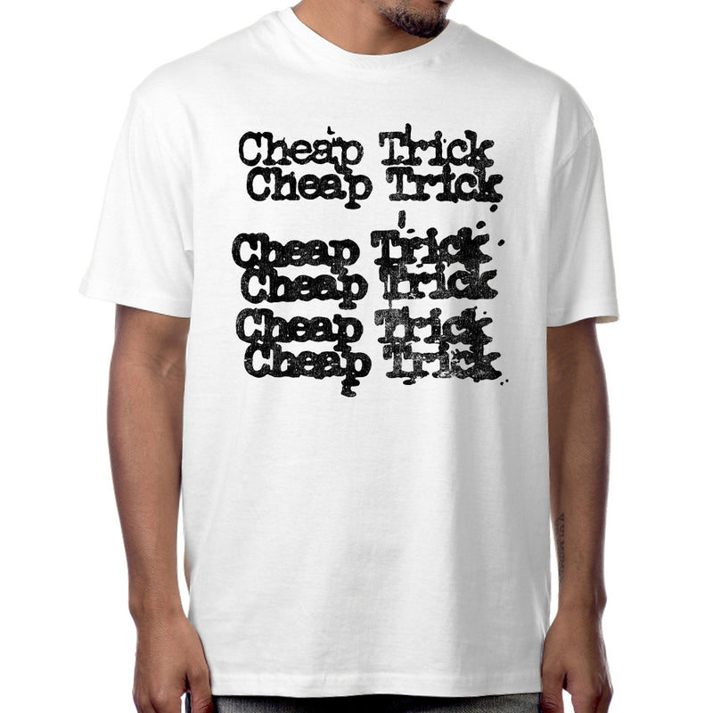 "Cheap Trick ""Stacked Logo"" T-Shirt in White"