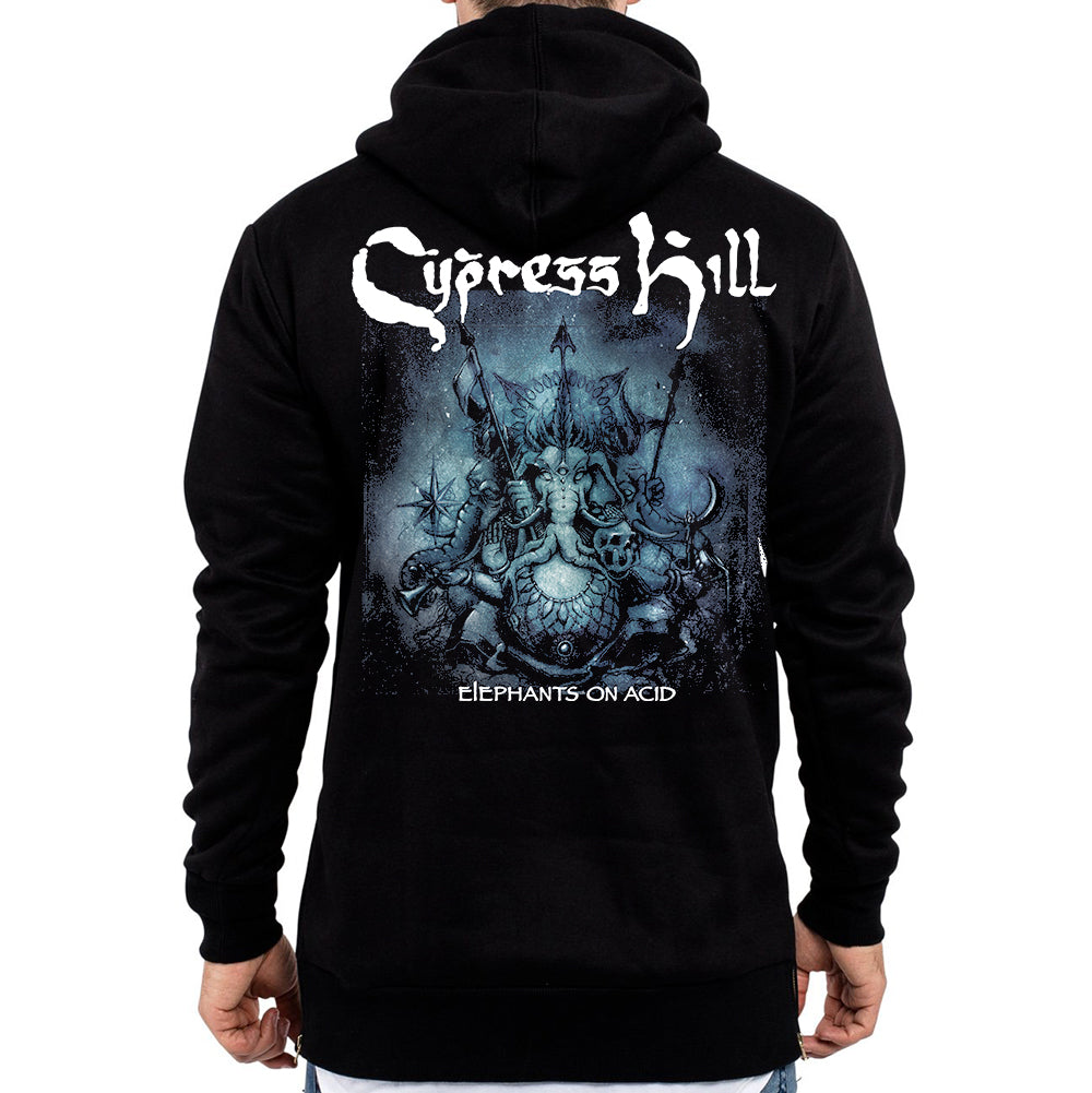 "Cypress Hill ""Elephants on Acid"" Zip up Hoodie with elephants on acid tour artwork on the back in high res screen printing"