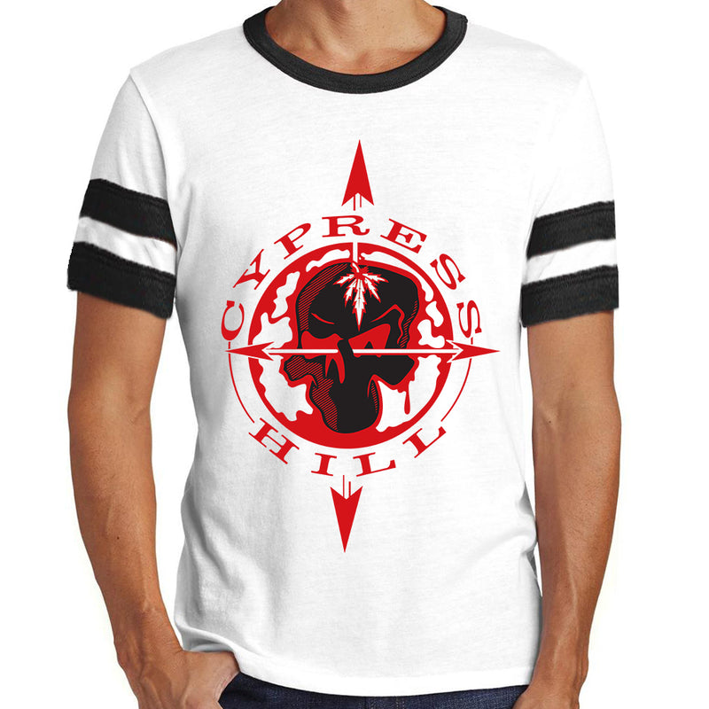 "Cypress Hill ""Skull & Compass"" Football T-Shirt"