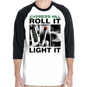 "cypress hill ""Roll  It Up"" white 3/4 legnth sleeve raglan shirt with black sleeves"
