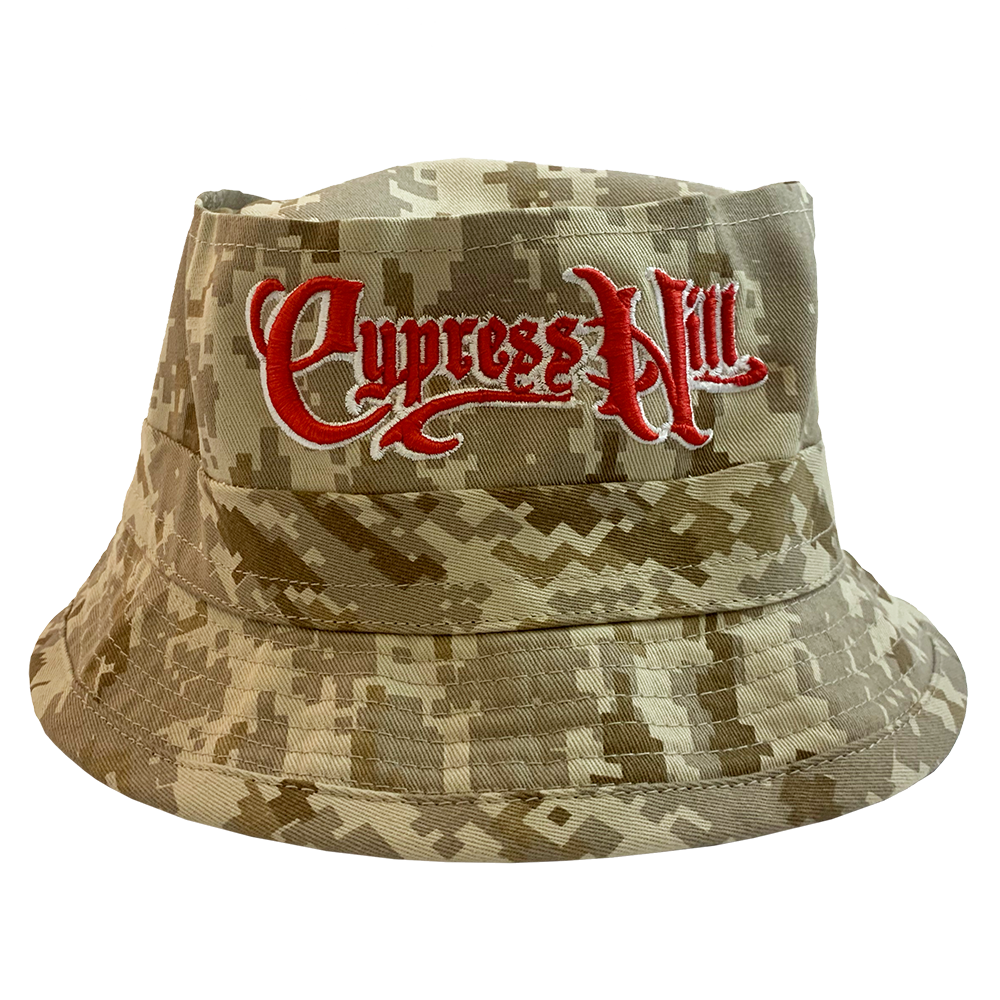 "Cypress Hill ""Script Logo"" Bucket Hat in Digital Brown Camo"