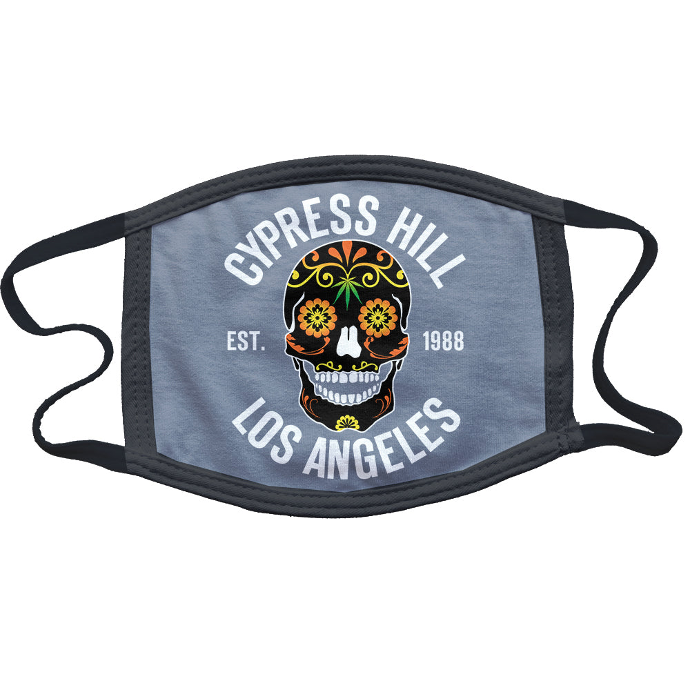 "Cypress Hill ""Day of the Dead"" Reusable and Washable Anti-Germ and Pollution Mask Cover in Grey"
