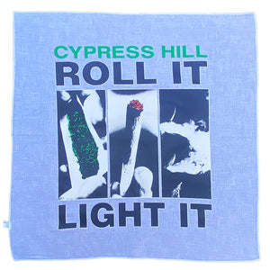 "Cypress Hill ""Roll It"" Bandana in White"