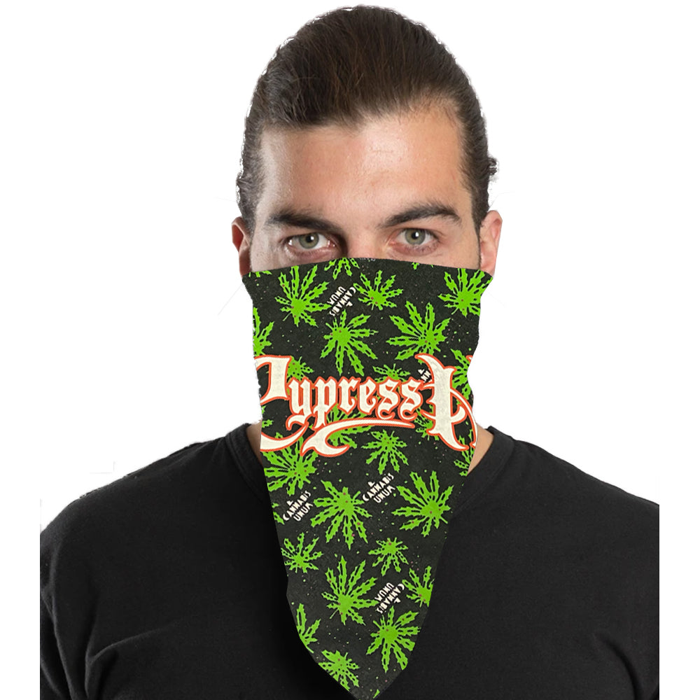 "Cypress Hill ""Script Logo"" Bandana in Cannabis Pattern"