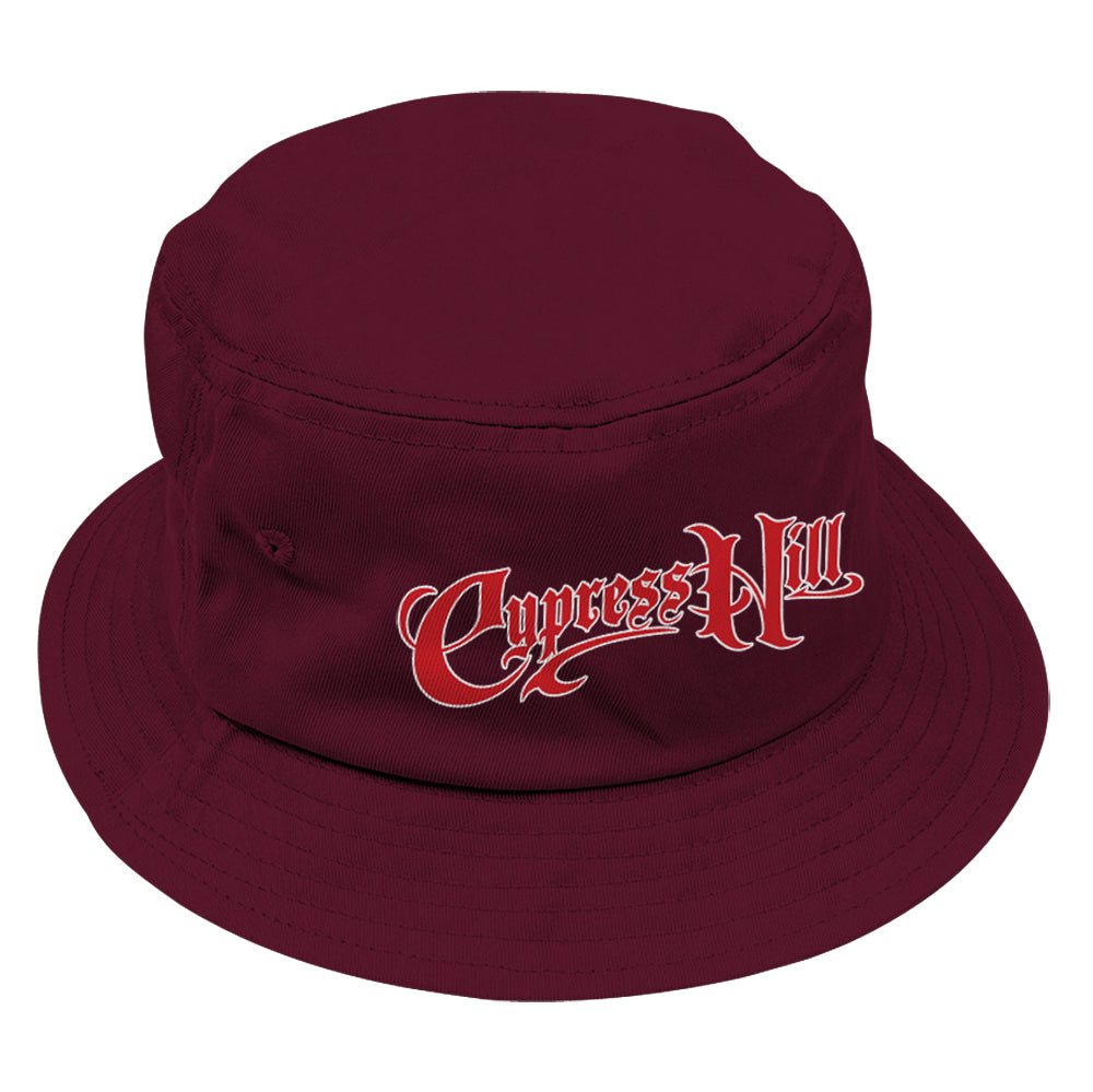 "Cypress Hill ""Script Logo"" Bucket Hat in Maroon"