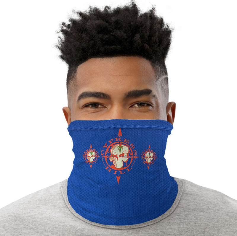 "Cypress Hill ""Skull & Compass"" neck gaiter in Blue"