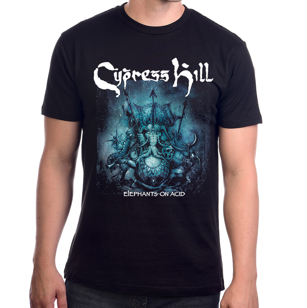 CYPRESS HILL ELEPHANTS TOUR T SHIRT WITH ELEPHANTS ON ACID ART WORK ON A BLACK T SHIRT