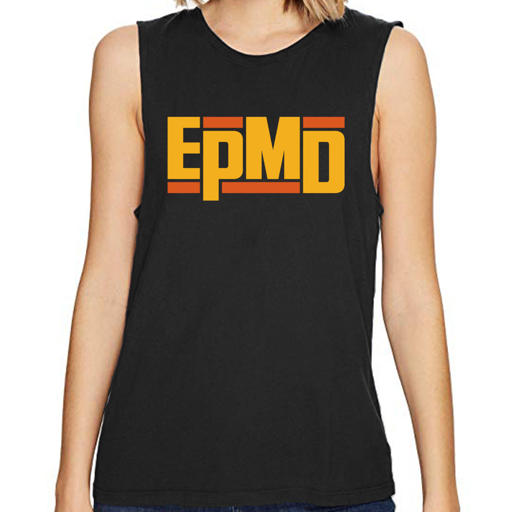 "EPMD ""Classic Logo"" Women's Black Raw-Edge Sleeveless Tank"